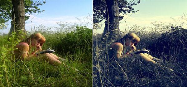 Ảnh trước và sau khi blend màu