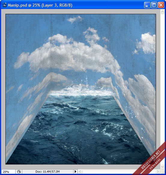 Tạo nên tác phẩm Manip siêu tưởng với với biển và bầu trời