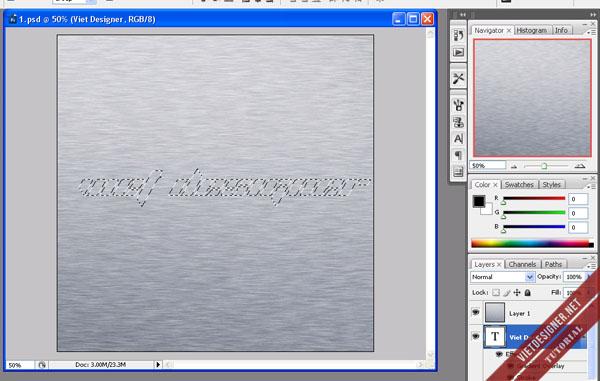 Hiệu ứng text kim loại trên nền bê tông