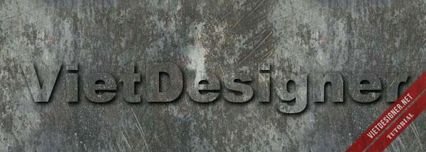 Hiệu ứng chữ kim loại đóng đinh trên tường